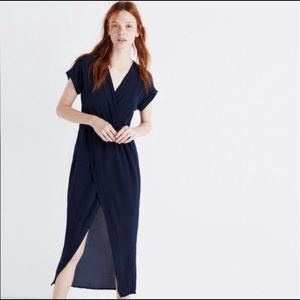 Madewell Blue Silk Wrap Dress XS